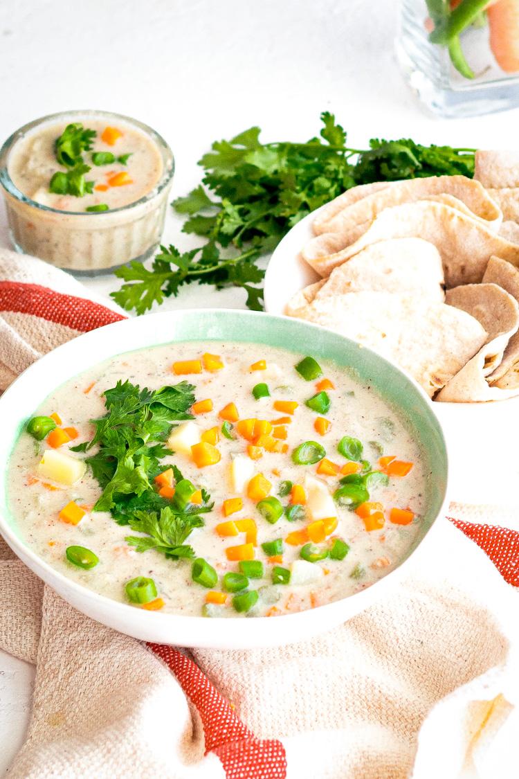 Vegetable kurma alongside chapatis