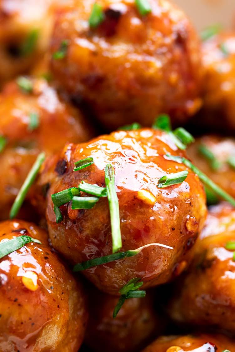firecracker chicken meatballs close up photo
