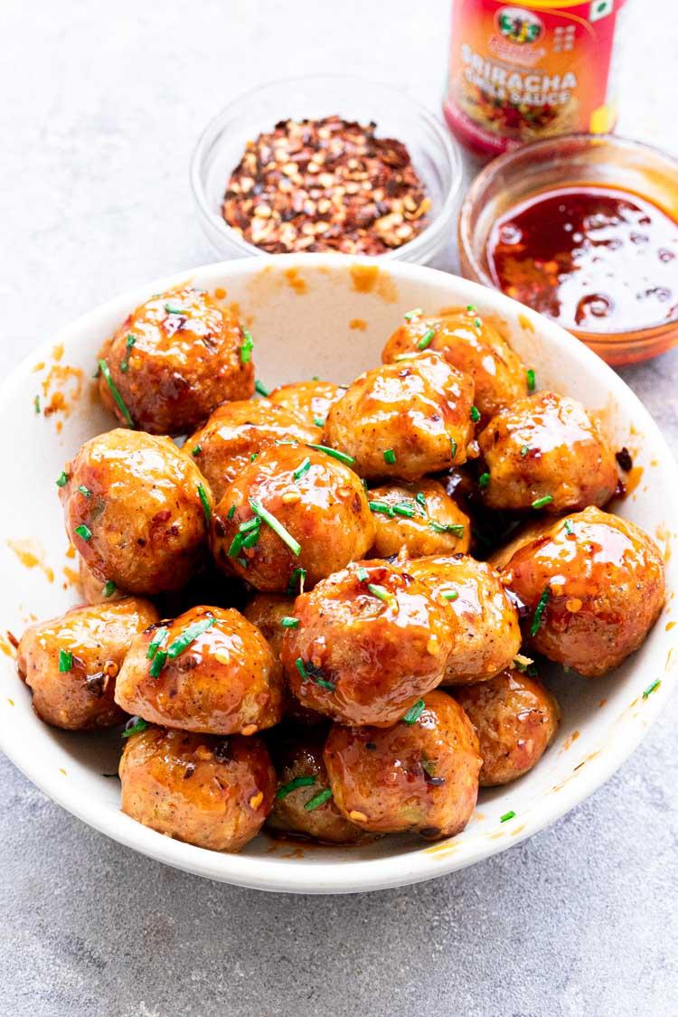 spicy chicken meatballs, firecracker meatballs