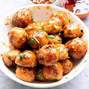 spicy chicken meatballs | firecracker meatballs