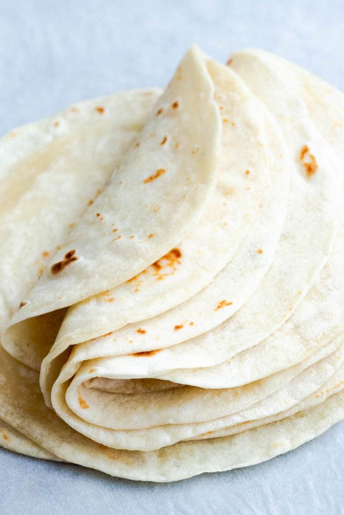 homemade flour tortillas recipe, folded wraps
