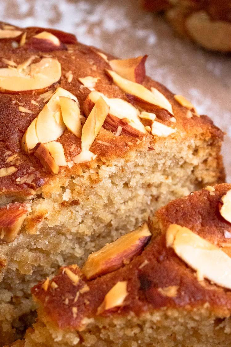 close up shot of wonderfully moist honey cake