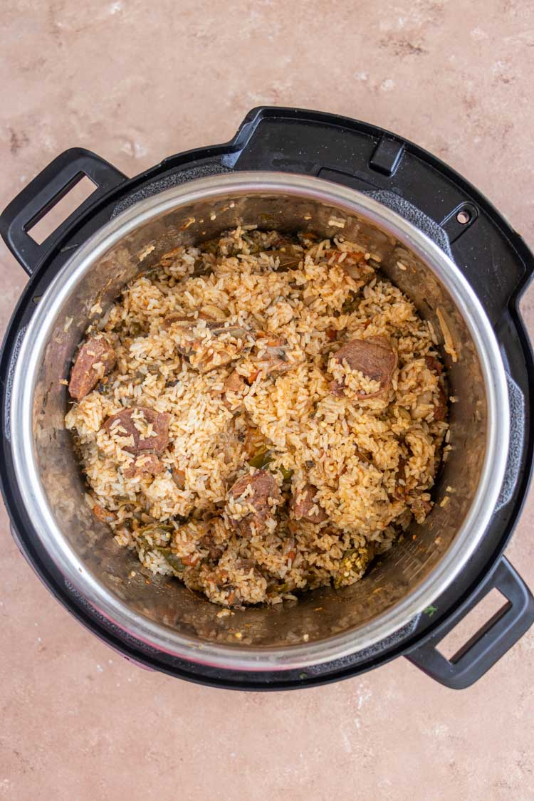 authentic mutton biryani recipe made in instant pot, picture of rice in instant pot, Instant Pot Mutton Biryani