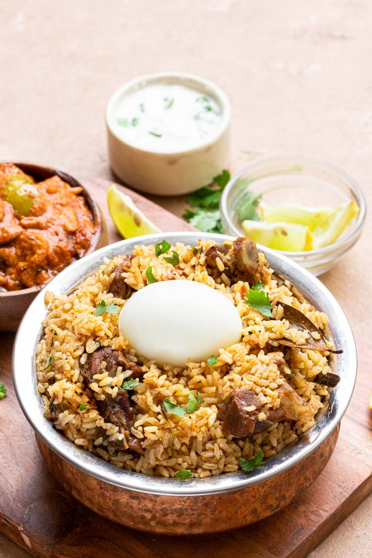 authentic mutton biryani recipe served with dalcha and raita, Instant Pot Mutton Biryani