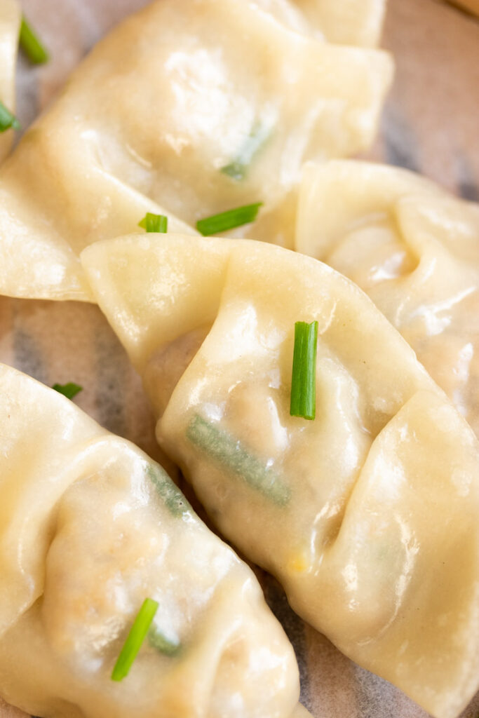 glossy and shiny dumpling skin with chicken filling