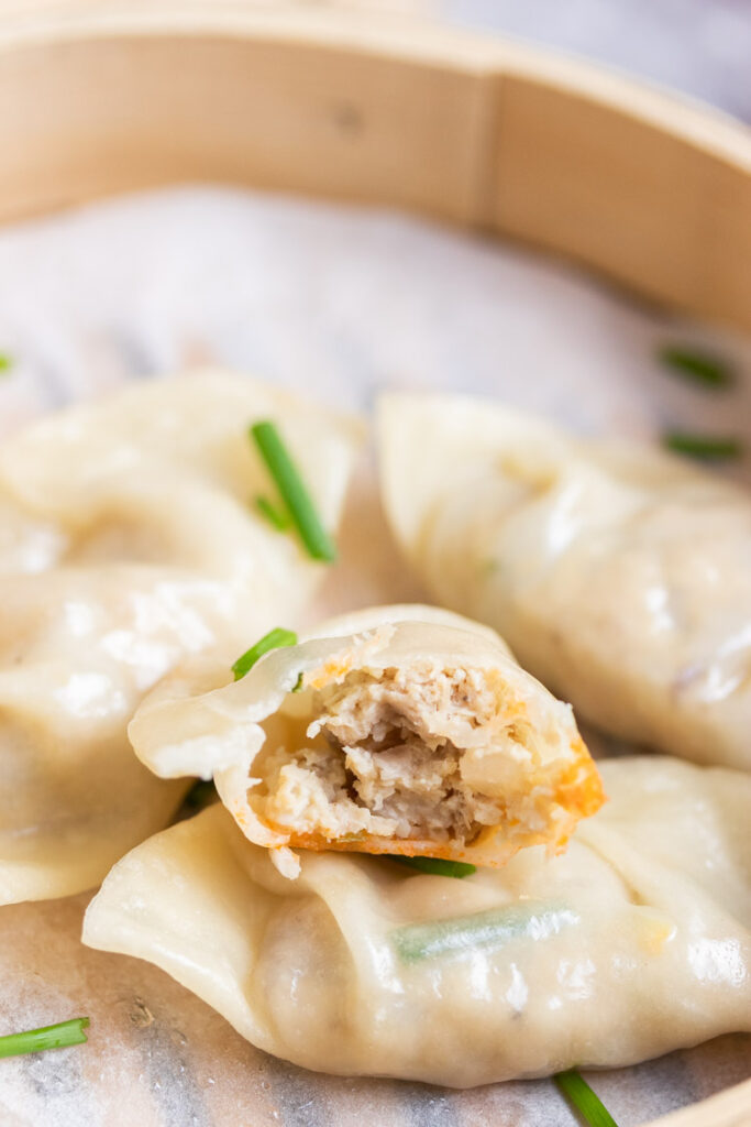 chicken dumpling close up photo, How to make chicken dumplings recipe