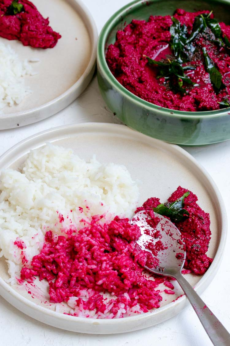 what to eat with beetroot thovaiyal, beetroot relish with rice