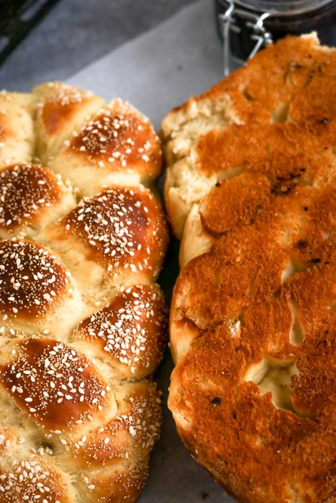 Braided challah with sesame and poppy seeds