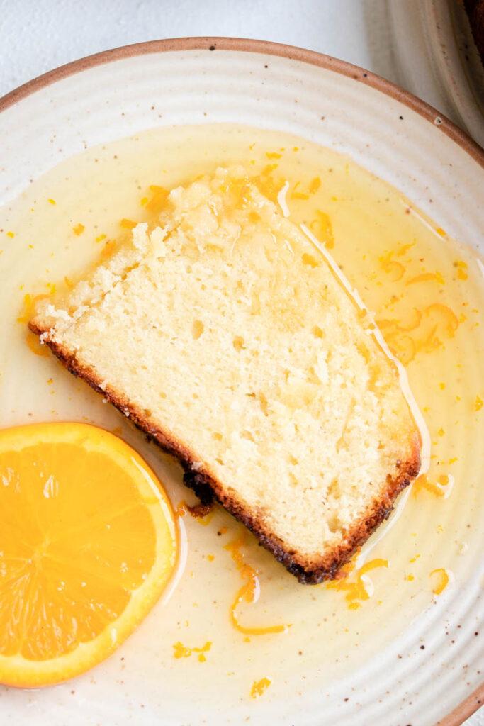 Slice of Yogurt Cake with Orange Glaze