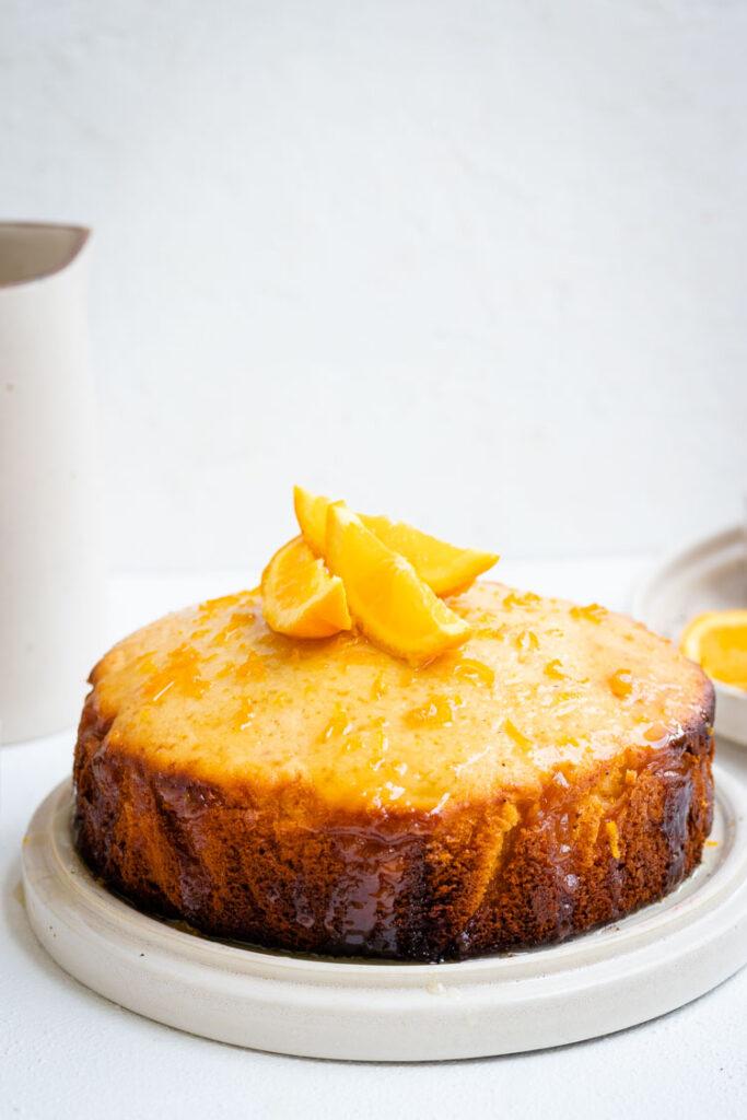 French Yogurt Cake with Orange Glaze, cake photography