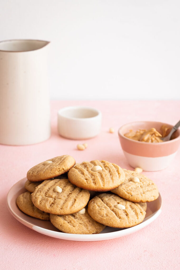 Peanut Butter Cookies, Stacked Together on a plate, Food photography