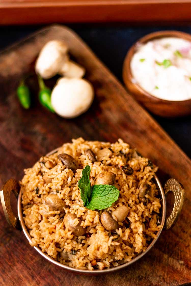 How to make mushroom biryani, recipe for mushroom biryani