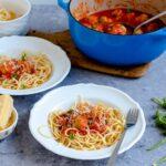 Spaghetti and chicken meatballs,
