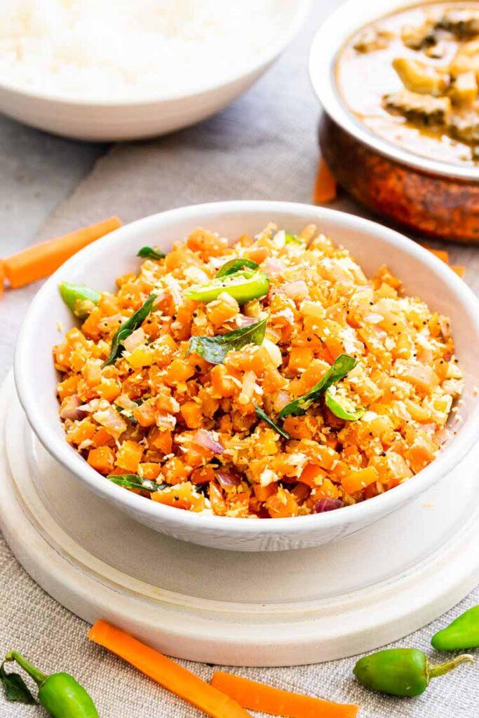 Carrot poriyal, how to make carrot poriyal, beans carrot poriyal, carrot poriyal tamil